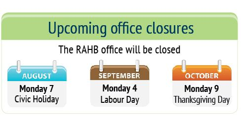 RAHB Office Closures
